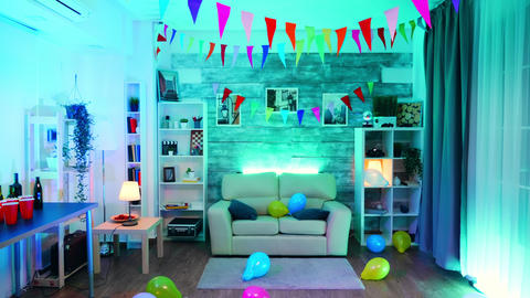 Room with nobody in it decorate for the party Live Action