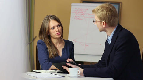 Business briefing man woman search for solution, office meeting Footage