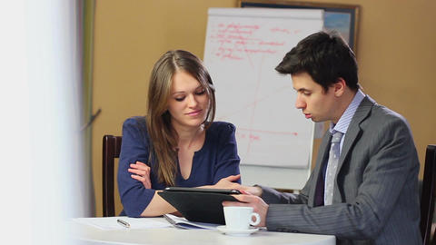 Business meeting finding solution, man woman discussing problem Footage