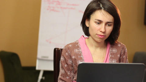 Woman browsing internet looks for business opportunity freelance Footage