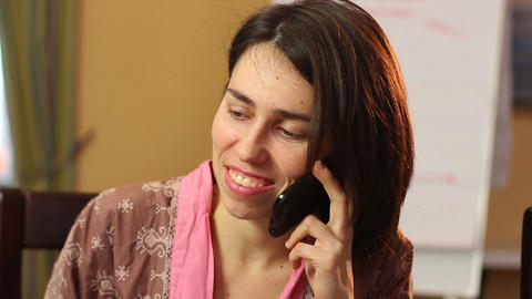 Divorced single woman smiling laughing, talks over phone, dating Footage