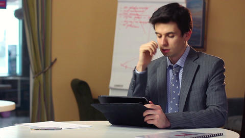 Concerned business man solving problems thinking, finds solution Footage