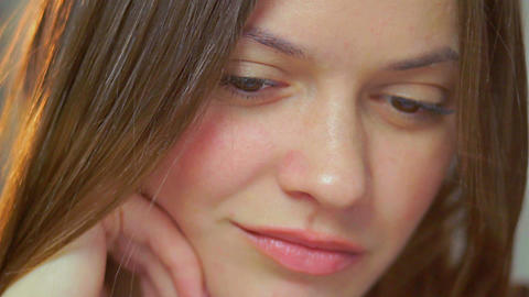 Sad young beautiful woman make-up contemplating looking down Footage