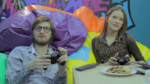 Couple on date, playing video game, dependence on computer games Footage