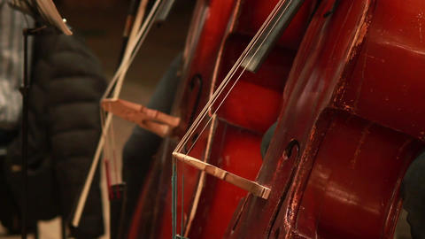 Cello part, musicians perform classic music concert, instruments Footage