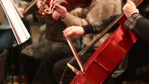 Musicians perform classic music concert, cello instruments Footage