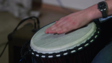 Hands play drums at musical concert, live sound, tapping rhythm Footage