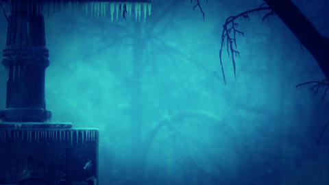 Blistering cold blue ice winter steam going up below zero Footage