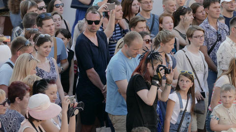 4K Ungraded: Group of Spectators Waiting for Open Air Concert Footage