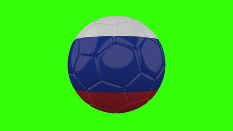 Russia flag on ball rotates on transparent green alpha background, loop Animation