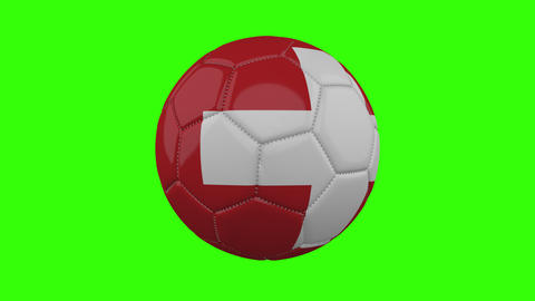 Switzerland flag on ball rotates on transparent green alpha background, loop Animation