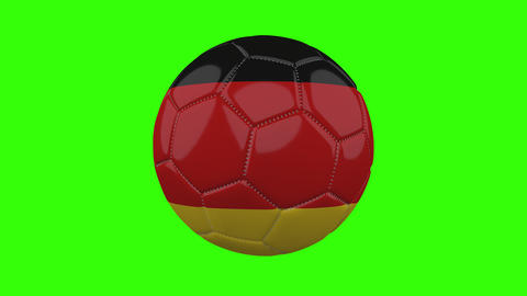 Germany flag on ball rotates on transparent green alpha background, loop Animation