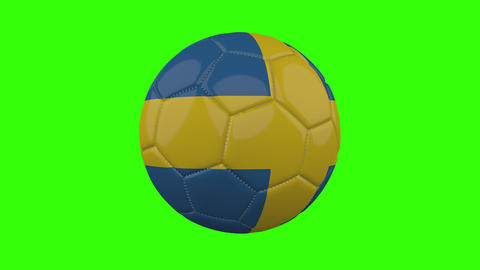 Sweden flag on ball rotates on transparent green alpha background, loop Animation