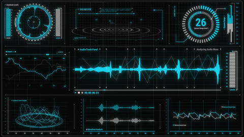 Blue Voice Recording & Audio Analysis HUD Interface Element Animation