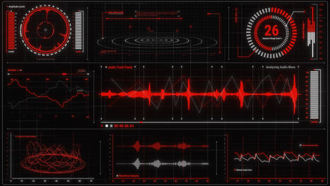 Red Voice Recording & Audio Analysis HUD Interface Element Animation