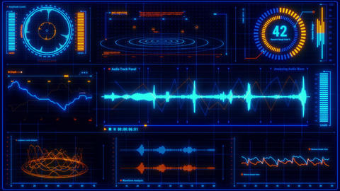 Blue Orange Voice Recording & Audio Analysis HUD Interface Element Animation