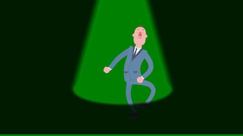 Cartoon Man Seeking Spotlight #1 ( Green Screen) Animation