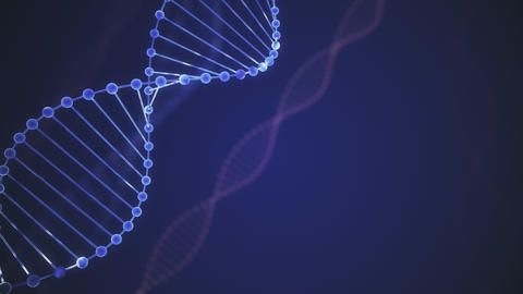 Abstract blue glittering DNA double helix with depth of field. Animation of DNA Live Action