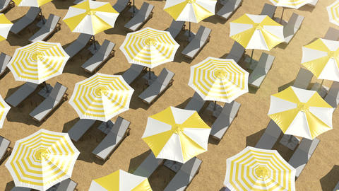 Empty sunbeds and colorful umbrellas on the beach Animation
