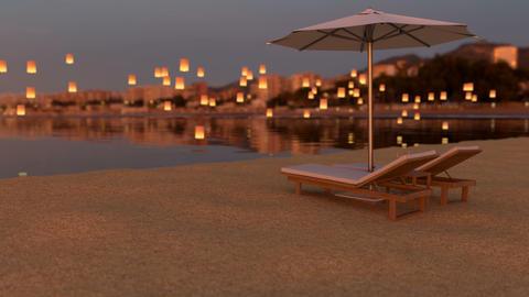 Red sunset on the exotic beach under sun umbrella Animation