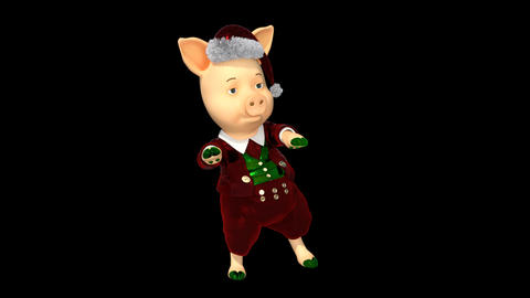 New Year's Pig Dancing Funny, Loop, Transparent Background Live Action