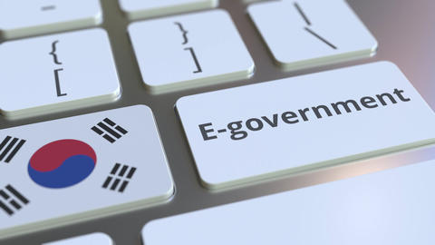 E-government or Electronic Government text and flag of South Korea on the Live Action