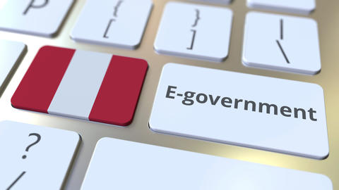 E-government or Electronic Government text and flag of Peru on the keyboard Live Action