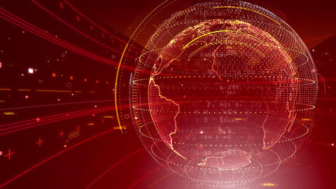 AI digital data network computer technology 3D illustration background 5 04 red Animation