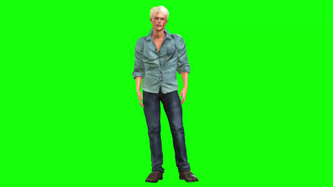 565 4k 3d animated avatar handsome young man sits talks walks and greeting all Animation
