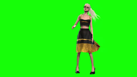 567 4k 3d animated avatar model girl who catwalks and after looks in mirror Animation