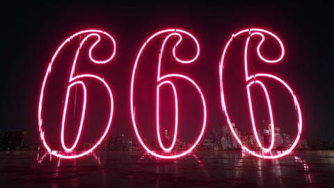 Red 666 on black. Grunge background. Isolated digits. Grunge design. Red Live Action