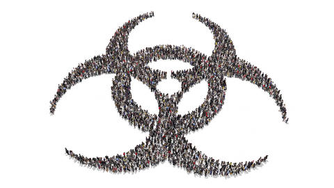 People gathering and forming bio hazard symbol Animation