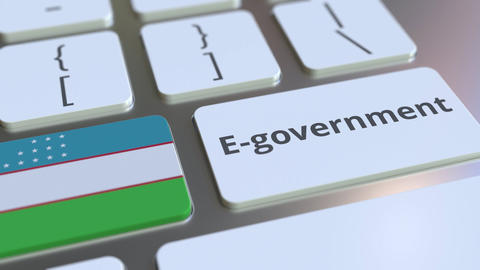 E-government or Electronic Government text and flag of Uzbekistan on the Live Action