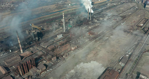 Aerial view over industrialized city with air atmosphere Live Action