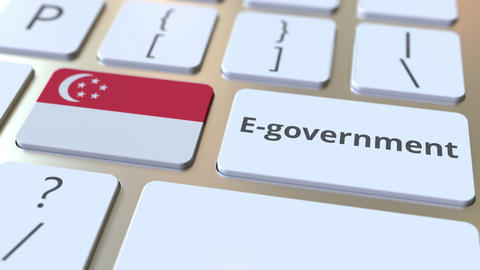 E-government or Electronic Government text and flag of Singapore on the keyboard Live Action