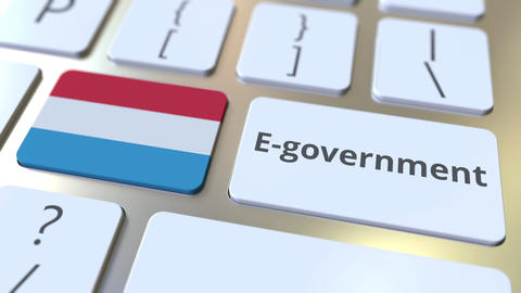 E-government or Electronic Government text and flag of Luxembourg on the Live Action