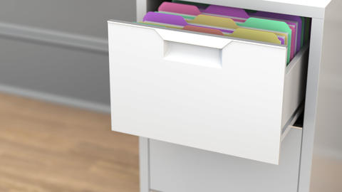 File with legal paperwork in the office file cabinet. 3D animation Live Action