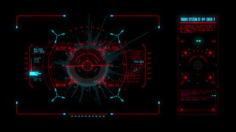 Red Spaceship Weapon and Radar HUD Display Graphic Element Animation