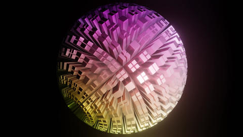 Sphere composed of blocks in pastel colors, ball rotating on black background Animation