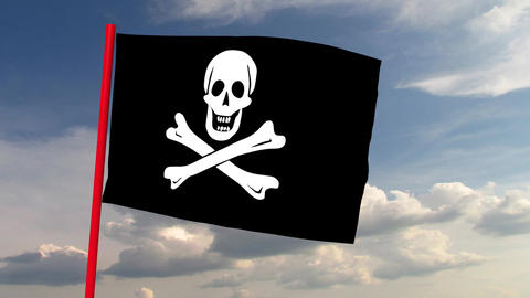 Pirate flag on red pole against the backdrop of heaven with dramatic clouds Animation