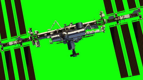 4K. Flight Of International Space Station On Green Screen GIF