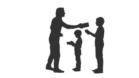 Silhouette of father giving to his sons the presents, alpha channel Footage