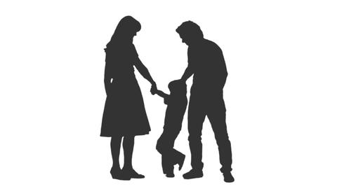 Silhouette of standing family with little son, Full HD shot with alpha channel Footage