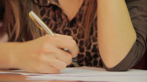 Close-up writing down information, signing papers, agreement ビデオ