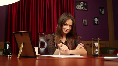 Business lady proud of achievements, successful company leader Live Action