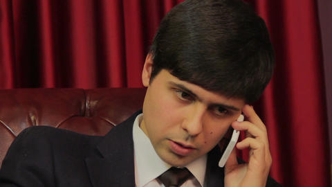 Businessman negotiating on the phone, career, making phone calls Footage