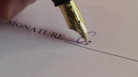 Close-up person putting signature, signing contract, macro Footage