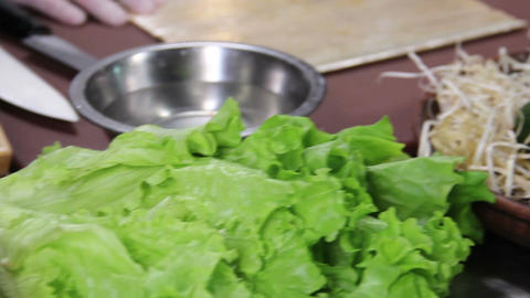 Sushi ingredients on kitchen table, freshly sliced vegetables Footage