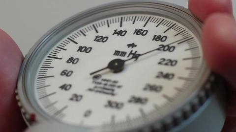 Close-up blood pressure measurement, blood test, healthcare Footage
