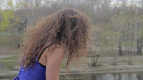 Lonely female on bridge, suicidal thoughts, autumn depression Footage